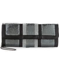 BCBGMAXAZRIA Sequin Mesh Clutch Pewter - Metallic