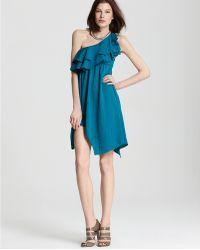 Rebecca Taylor Rebecca Taylor One Shoulder Dress Ruffle - Lyst