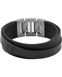 Fossil Stainless Steel Black Leather Double Wrap Bracelet