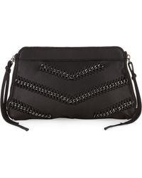 Linea Pelle - Chevron Chain Clutch Bag Black - Lyst