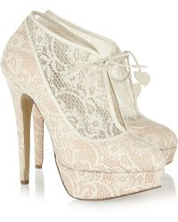 Charlotte Olympia Minerva Lace And Satin Ankle Boots beige - Lyst