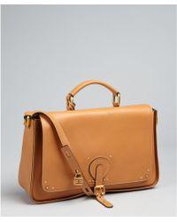 Chloé Caramel Leather Briefcase Style Crossbody Bag - Lyst