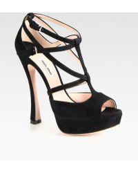 Miu Miu Suede T-strap Platform Sandals - Lyst