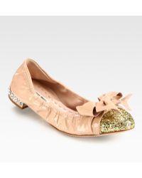 Miu Miu Glitter Patent Leather Bow Ballet Flats - Lyst