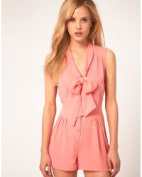 Asos Asos Sleveless Playsuit with Pussybow pink - Lyst