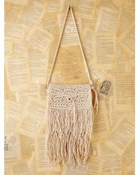 Free People Vintage Crochet Macrame Handbag - Natural