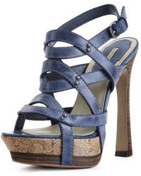 Max Studio Rae Platform Sandals - Blue