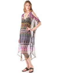 Twelfth Street Cynthia Vincent Cold Shoulder Maxi Caftan Dress - Multicolor
