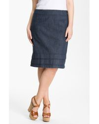 Nic + Zoe Flirt Ruffle Hem Skirt blue - Lyst