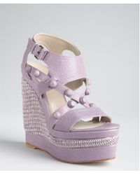Balenciaga Lavender Leather Studded Woven Wedge Sandals - Lyst