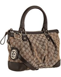 Gucci Brown Gg Canvas Leather Trim Sukey Bag - Lyst