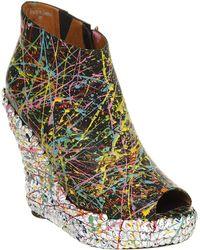 Jeffrey Campbell Tick Stud Wedge Shoe Boot Blk Paint Studs - Black