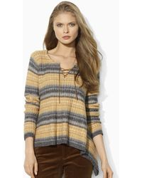 Ralph Lauren Blue Label Striped Knit Pullover - Lyst