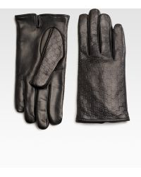 Gucci Microsima Leather Gloves black - Lyst