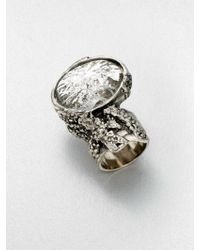 Saint Laurent Antiqueinspired Silvertone Arty Ovale Ringsilver - Lyst