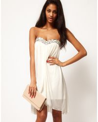 ASOS Collection Strapless Mesh Dress with Embellished Bust - Lyst