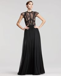 Elie Saab Capsleeve Lacebodice Gown - Lyst