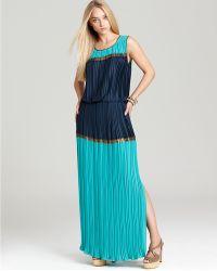BCBGMAXAZRIA Pleated Maxi Dress - Lyst