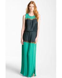 BCBGMAXAZRIA Pleated Colorblock Chiffon Maxi Dress - Lyst