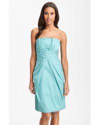 ML Monique Lhuillier Bridesmaids Strapless Wrappleat Taffeta Dress - Lyst