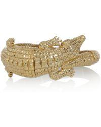 Kenneth Jay Lane 22 Karat Goldplated Alligator Bracelet - Lyst