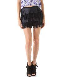 Gryphon - Fringe Leather Miniskirt - Lyst