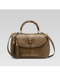 Gucci New Bamboo Crocodile Top Handle Bag - Lyst