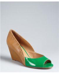 Kelsi Dagger Kelly Green and Cognac Leather Genelle Peep Toe Wedges - Lyst