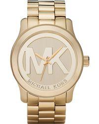 Michael Kors Women'S Runway Gold Plated Stainless Steel Bracelet Watch 45Mm Mk5473 - Lyst