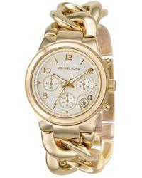 Michael Kors Women'S Chronograph Runway Twist Gold Ion-Plated Stainless Steel Bracelet Watch 38Mm Mk3131 - Lyst