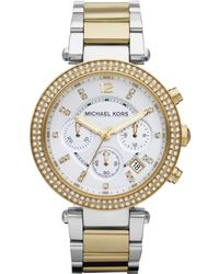 Michael Kors Women'S Chronograph Parker Two Tone Stainless Steel Bracelet Watch 39Mm Mk5626 - Lyst