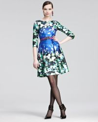Oscar de la Renta Floral-Print Silk-Blend Mikado Dress blue - Lyst