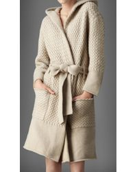 Burberry Waffle Knit Cashmere Dressing Gown - Natural