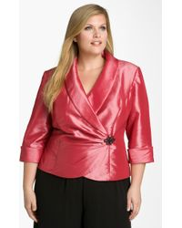 Alex Evenings Wrap Taffeta Blouse - Lyst