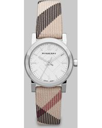 Burberry Check Stamped Round Stainless Steel Watch26mm - Lyst
