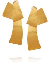 Herve Van Der Straeten 24karat Goldplated Twisted Clip Earrings - Metallic
