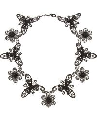 Bottega Veneta Blackened Oxidizedsilver Floral Lace Necklace black - Lyst