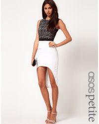 ASOS Collection Asos Petite Exclusive Dress with Lazercut Detail and High Low Hem - Lyst