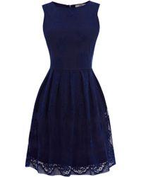 Oasis Lace Cutaway Dress blue - Lyst