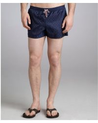 Gucci Navy Tonal Print Gg Swim Shorts - Lyst