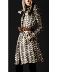 Burberry Prorsum - Bow Detail Snakeskin Trench Coat - Lyst