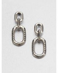 Giles & Brother Pavé Stone Accented Link Drop Earrings - Metallic