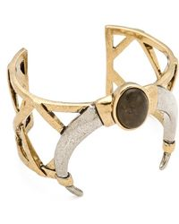 House of Harlow 1960 - Open Weave Horn Cuff with Labradorite Stone - Lyst