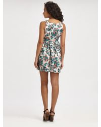Wren - Gathered Floral-Print Dress - Lyst