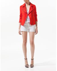 Zara Linen Double Breasted Jacket with Studded Lapels red - Lyst