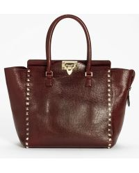 Valentino Rockstud Small Textured Leather Tote - Lyst