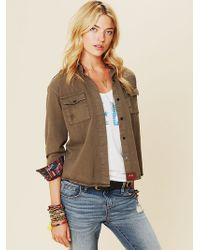 Free People Olive Buttondown with Embroidery green - Lyst