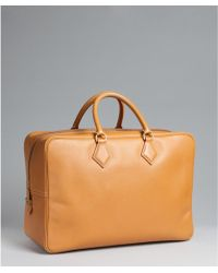 Hermès Pre-Owned: Whiskey Leather Rectangular Vintage Travel Bag - Lyst