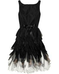 Oscar de la Renta Silk Taffeta Dress black - Lyst