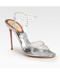 Christian Louboutin Icone Translucent Studded Metallic Leather Sandals - Lyst